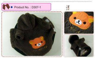 Dog Cat Clothes Coats Fleece Bear Embroidered Hoodie Jackets D307