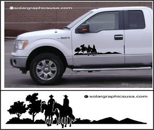 Decal Kit Cowboy Trail Rider for Farm Truck or Horse Trailer Black