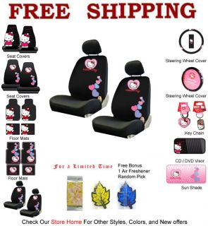 New 2 Front Low Back Seat Covers Set Sanrio Love Hello Kitty Pink Blue Hearts