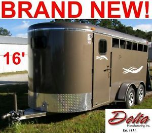 New 2014 16' Delta Stock 3 Horse Trailer Dressing Room