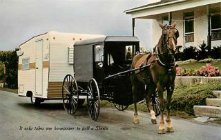 Advertising Postcard 1960s Amish Horse Buggy Pulling Shasta Travel Trailer
