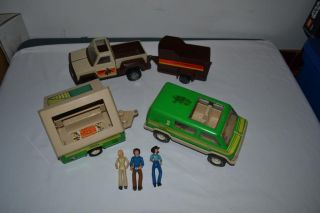Vintage 70's Tonka Lot Pop Up camper Pick Up Horse Trailer Figures Etc