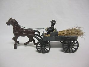 Vintage Amish Man with Horse Pulling Trailer of Hay Old Hubley Metal Toy