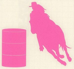 Barrel Racer Decal Horse Racing Rodeo Cowgirl Trailer Truck RV Med Pink New