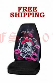 Girl Skull Cross Bone Pink Bow Tie Seat Covers Cover