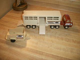 Vintage Tonka Semi Tractor Truck Horse Stable Trailer