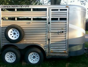 Very Nice 2000 FeatherLite 2 Horse Bumper Pull Steel Stock Trailer
