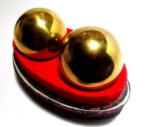 VINTAGE Baoding Balls Chinese Health Exercise Stress Balls Gold Chimes