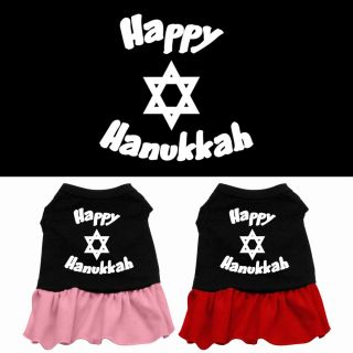 Happy Hanukka Jewish Dog Dress Pet Puppy Princess Clothes Apparel Skirt Shirt
