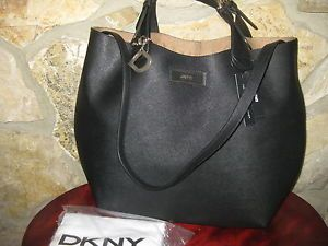 DKNY Donna Karan Large Saffiano Leather Tote Black w Zipper Liner Bag $365