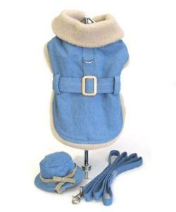 Dog Clothes Faded Denim Coat with Hat and Leash XS to XXL Jacket Harness Puppy