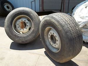 425 65R22 5 Goodyear Used Truck Tires Two Mounted on Rims