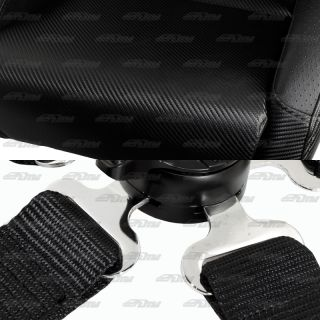 NRG Black Textured PVC Leather Racing Seats Black 5 Point Cam Lock Harnesses