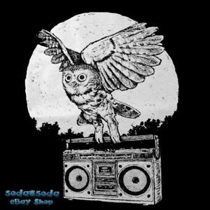 Full Moon Dark Night Owl Ghettoblaster DJ T Shirt Fun Boombox Hip Hop Music S