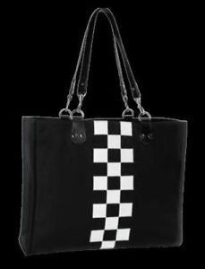 Mini Cooper Black Checkered Flag Tote Bag Purse New