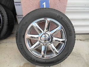 "20"" GMC Denali Factory Chrome Wheels Rims Used Michelin Tires"