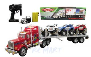 "New 36"" Radio Controlled RTR RC 18 Wheeler Tractor Truck Trailer w Cars"