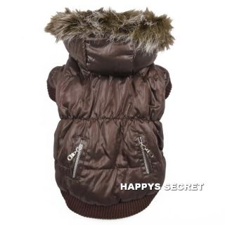 Luxury Thick Padded Dog Parka Coat Zipper Super Warm Pet Clothes Jacket Fur Hood