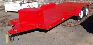 Race Car Hauler Utility Trailer w Mounted Tool Box Hide Away Ramps 7 000 Lbs