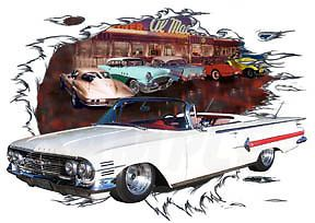 1960 White Chevy Impala Convertible Hot Rod Diner T Shirt 60 Muscle Car Tee'S