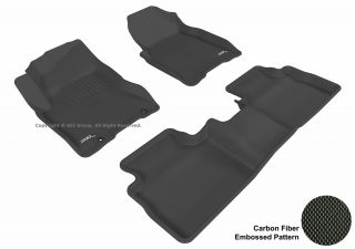 3D Maxpider Nissan Rogue 08 12 Kagu Black Rubber Molded Floor Mat