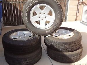 "Five 17"" Alloy Wheels with Goodyear Wrangler Tires Jeep Wrangler"