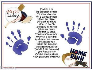 Daddy Teach Me Poem Baseball Handprints Fathers Day