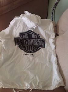 Biker Harley Davidson White Light Weight Jacket with Hood