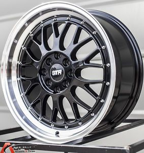 "17"" Str 601 4x100 Black Wheel Fit Mini Cooper s JCW Clubman Civic SI"