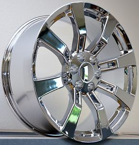 "4 20"" Tires Chrome Wheels Cadillac Escalade GMC Denali Sierra Rims Set Package"