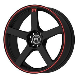 16x7 Motegi Car Wheels Honda Civic Chevy Cobalt 4 Lug Rims Black Red MR116