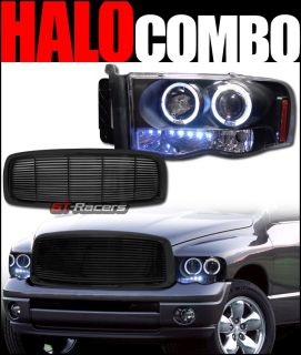 Blk Halo LED Projector Head Light Signal Front Hood Grill Grille H 2002 2005 RAM
