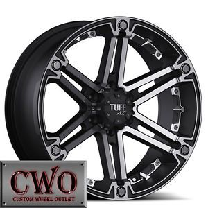 16 Black Tuff T 01 Wheels Rims 5x139 7 5 Lug Dodge RAM Dakota Durango
