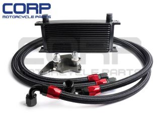 15 Row BMW Mini Cooper s supercharger R56 Engine Oil Cooler Kit Black