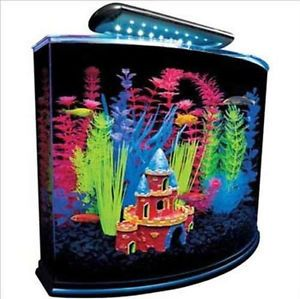 Glofish Aquarium Kit 5 Gallon Fish Tank Tetra Wall Glass Light LED Hood New 3