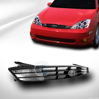 Blk Sport Front Hood Bumper Grill Grille Clear Signal Lights 2000 2004 Focus