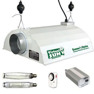 Virtual Sun 600W HPS MH Enclosed Hood Digital Ballast Grow Light Kit 600 Watt