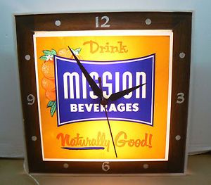 1970s Drink Mission Beverages Store Advertising Displa Y Lighted Clock Works