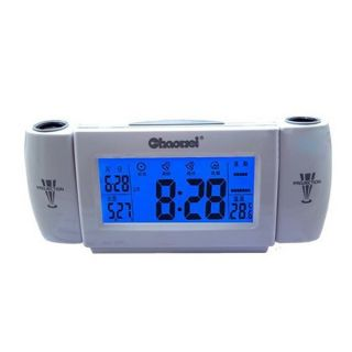 Sound Control Sensor Projection Digital LED Snooze Alarm Clock Night Light Timer