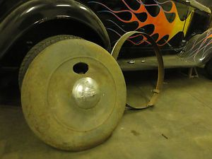 Spare Tire Cover Rear Plymouth 1933 36 Good Cond w Stainless Trim and Lock