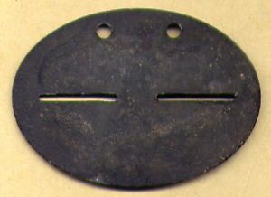 German WWII Late War ID Tag Dog Tag Volkssturm 1945