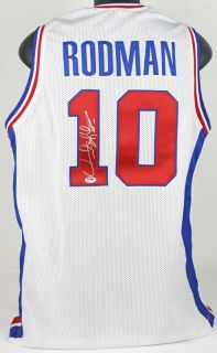 "Pistons Dennis Rodman ""Worm"" Authentic Signed White Jersey Autographed PSA DNA"
