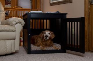 New Deluxe Indoor Wood End Table Pet Dog Crate Kennel Large Black 42167