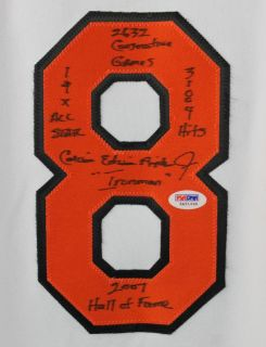 Orioles Cal Ripken Jr Full Name w Stats Authentic Signed White Jersey PSA DNA