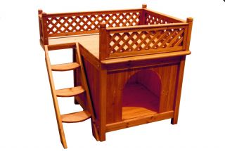 Balcony View Cedar Wood Small Dog Cat House Indoor Outdoor New
