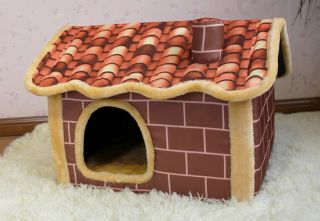 New Indoor Brown Brick Wall Chimney Pet Dog Cat House Beds Kennel Size M