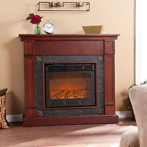 Electric Indoor Fireplace with Remote Control Cherry Wood Finish