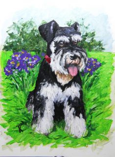 "Tatiana Myers Original Oil Painting ""Smell The Flowers "" Miniature Schnauzer Dog"