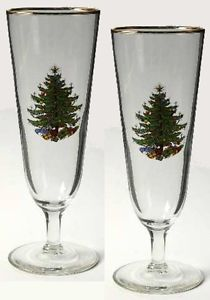 2 Cuthbertson Christmas Tree Pilsner Glassware Footed Glasses Beer Beverages Ret