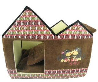 New Fashion Soft Warm Classical Pet Dog Cat House Bed Brown Medium
